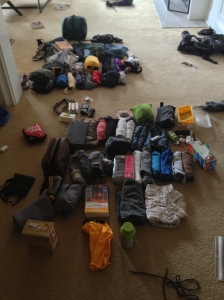 All of our stuff laid out before going into our packs