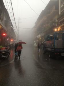 Foggy rainy morning in the streets of Sapa
