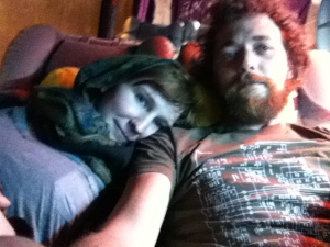 Snuggled into our sleeper bus bed.